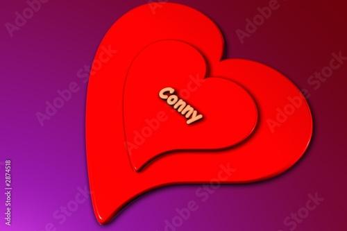 conny - herz in 3d gerendert (liebe) Tableau sur Toile