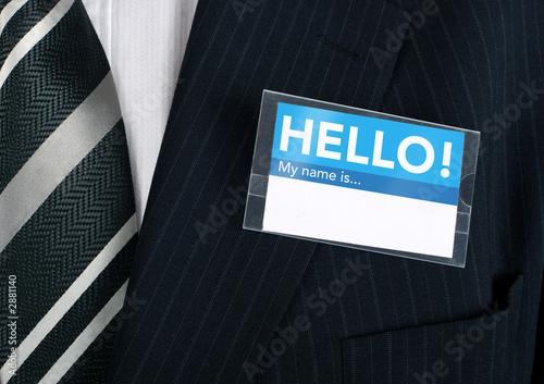 Fotografía  close-up of a welcoming name tag
