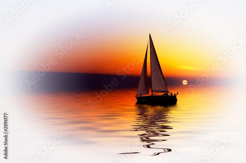Poster Zeilen sailing and sunset