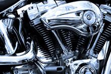 Gros Plan Du Moteur D'une Moto...