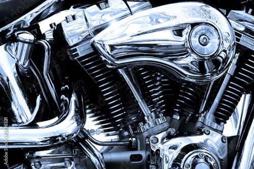 gros plan du moteur d'une moto de légende Wallpaper Mural