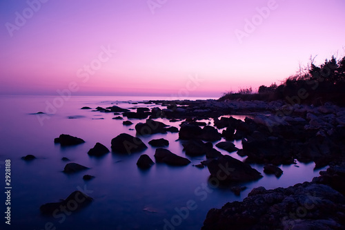 Printed kitchen splashbacks Purple pink sunset