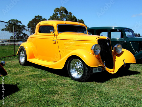 Wall Murals Old cars yellow coupe