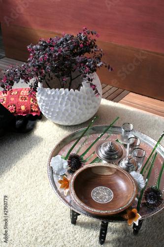 Tuinposter Boeddha luxury silver tray