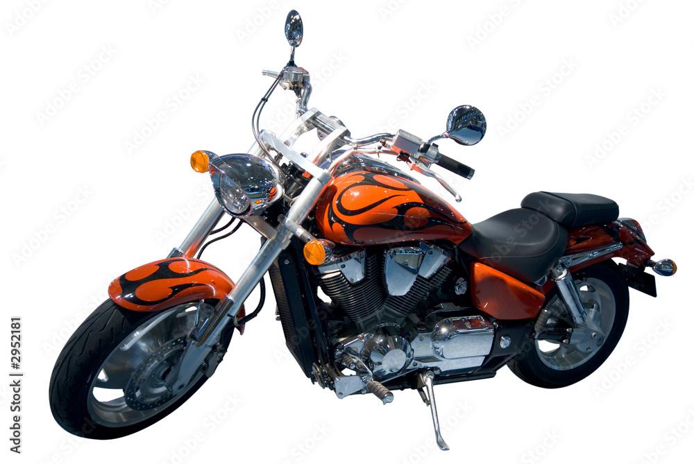 Photo  vintage motocycle. chopper. isolated over white