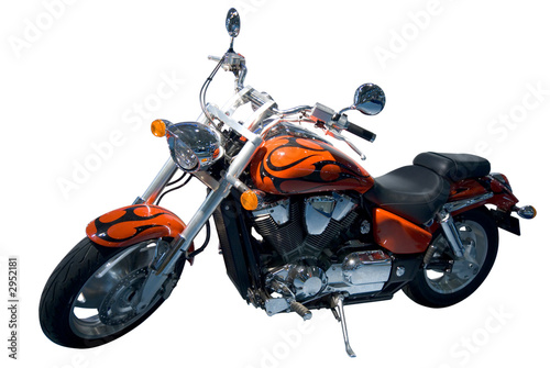 Photo  vintage motocycle. chopper. isolated over white