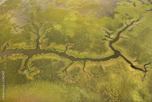 Valokuva  Aerial view of tributary on Bald Head Island, North Carolina.