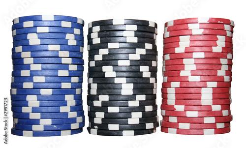 stacks of poker chips (blue;black;red) Wallpaper Mural