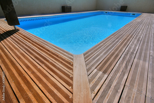 Fotografie, Obraz  piscine et bois exotique