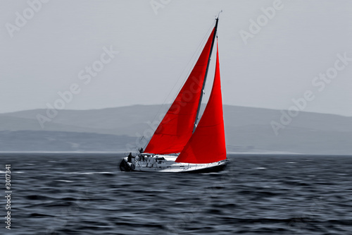Door stickers Sailing sailboat moving fast
