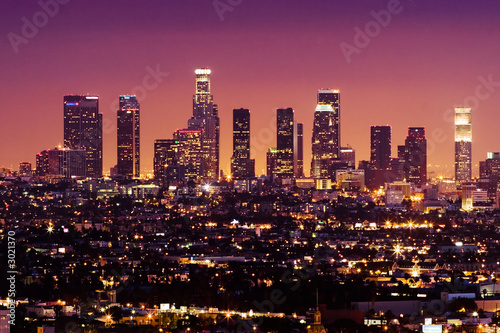 Poster Los Angeles downtown los angeles skyline at night, california