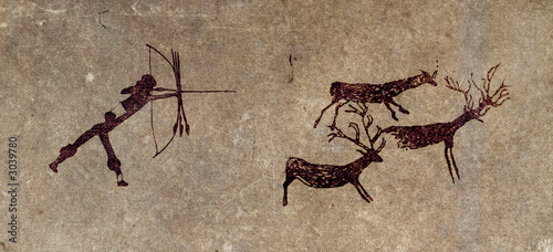 prehistoric hunter - cave painting reproduction Canvas Print