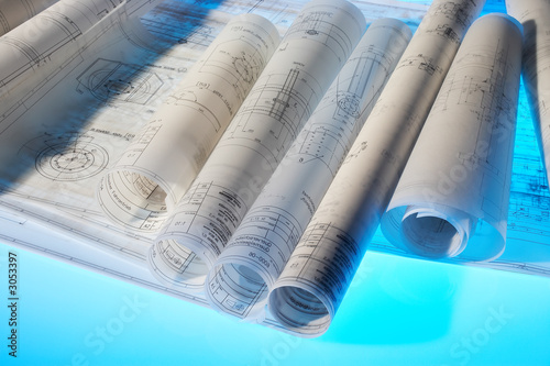 rolled-up design drawings Canvas-taulu
