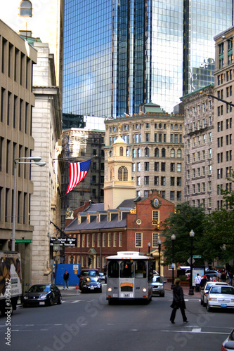 Staande foto New York TAXI boston old state house