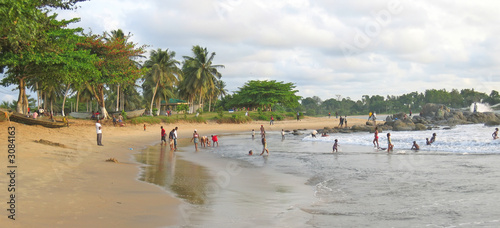 african tropical beach and sea, cameroon, africa, panorama #3084163