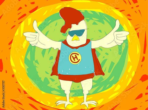 Fotografie, Obraz  super hero chicken