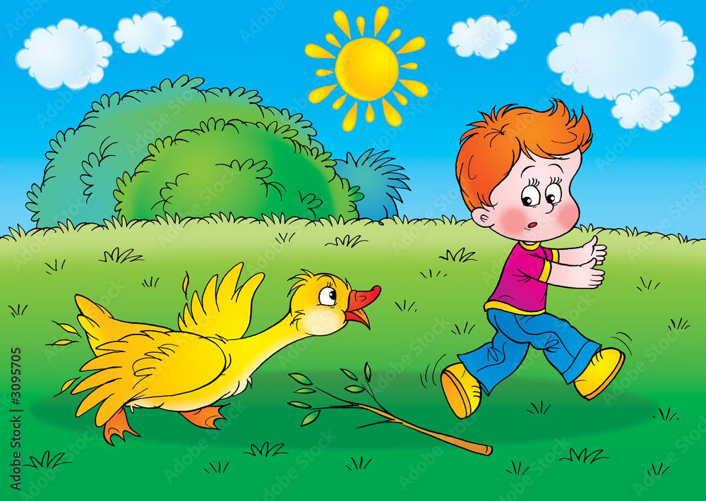 Foto-Lamellen (Lamellen ohne Schiene) - boy and goose