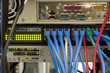 blue cat5 cables in network switch