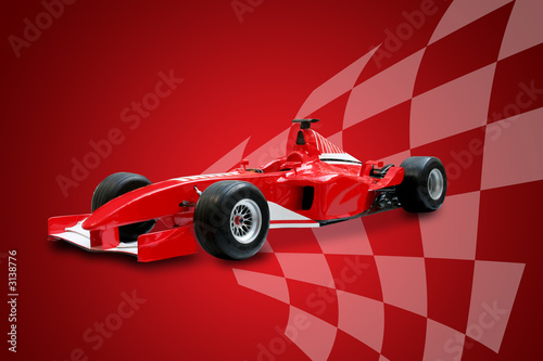 Deurstickers F1 red formula one car and racing flag