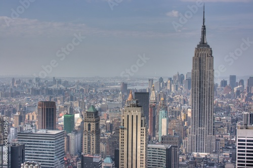 Poster New York empire state building and manhattan skyline, new y