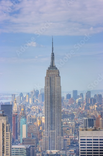 Photo  empire state building and manhattan skyline, new y