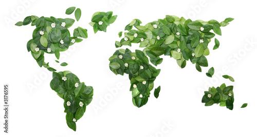 Tuinposter Wereldkaart floral world