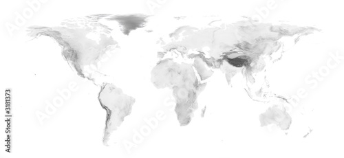 In de dag Wereldkaart world map with grayscale elevation