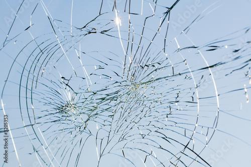 Fototapety, obrazy: web of splits on the triplex windscreen