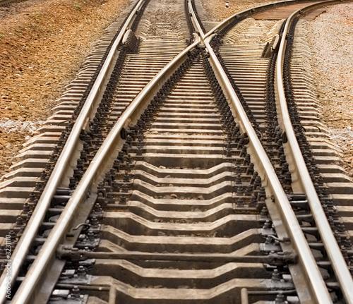 Cuadros en Lienzo rail road track crotch rails disperse roads differ