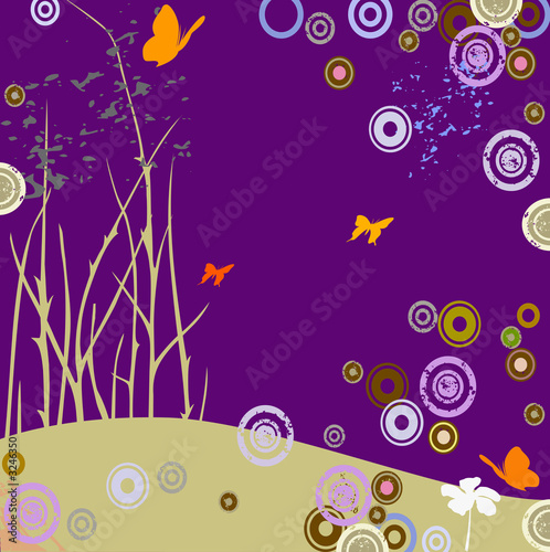 Spoed Foto op Canvas Violet composition with butterflies and circles