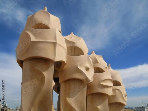 Photo  gaudi chimney pots, barcelona