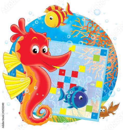 Foto-Lamellen (Lamellen ohne Schiene) - sea horse and crossword (von Alexey Bannykh)