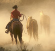canvas print picture bringing the horses in
