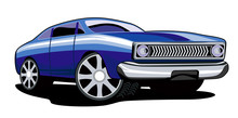 Classic Blue Car White Background
