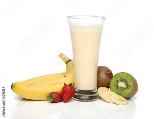 Foto op Canvas Milkshake banana milkshake with fruit composition