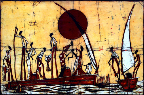 African art batik wall decoration with people and sail boats. - Buy ...