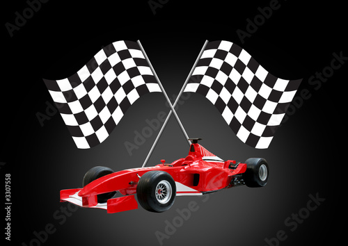 red formula one car and flag