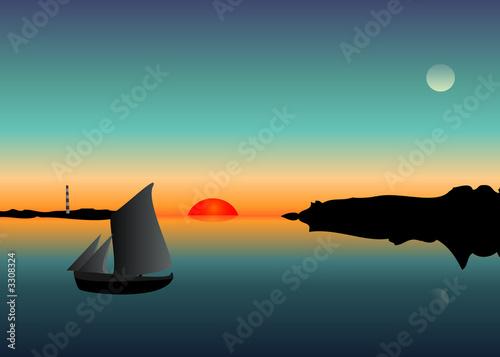 Fotografie, Obraz  Západ slunce a člun na řece