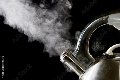 Fotografering  tea kettle with boiling water