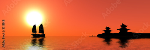 Spoed Foto op Canvas Baksteen red sunset in southeast asia