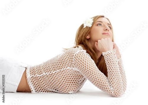 Valokuva  white fishnet girl with flower