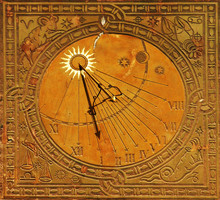 Classic Sun Dial In Historic Old Town Warsaw