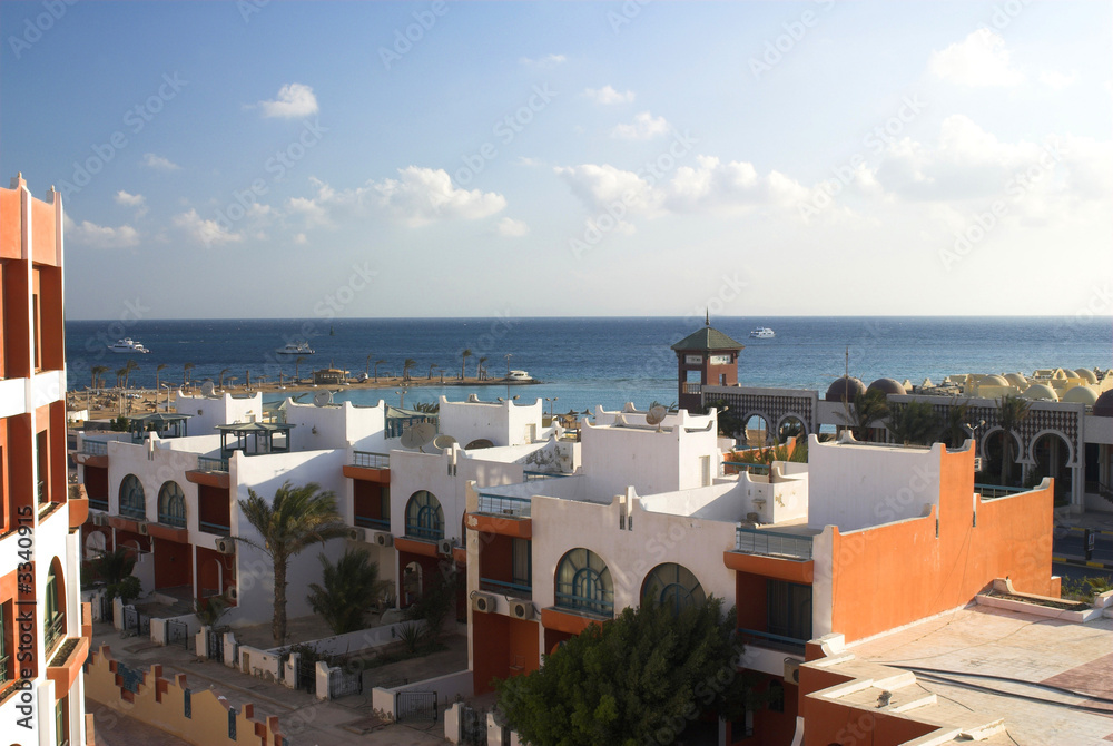 Fototapeta resort on red sea in hurghada in egypt