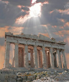 sunburst over the acropolis temple