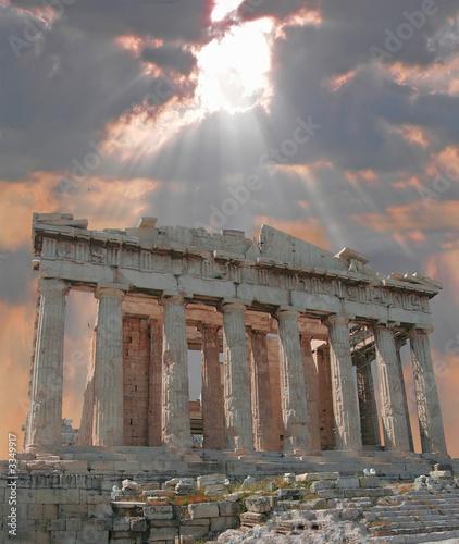 Fotobehang Athene sunburst over the acropolis temple