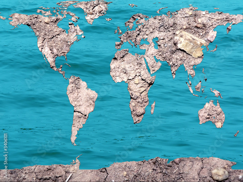 global map dry and flooded earth