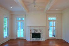 Beautiful Livingroom With Marble Fireplace