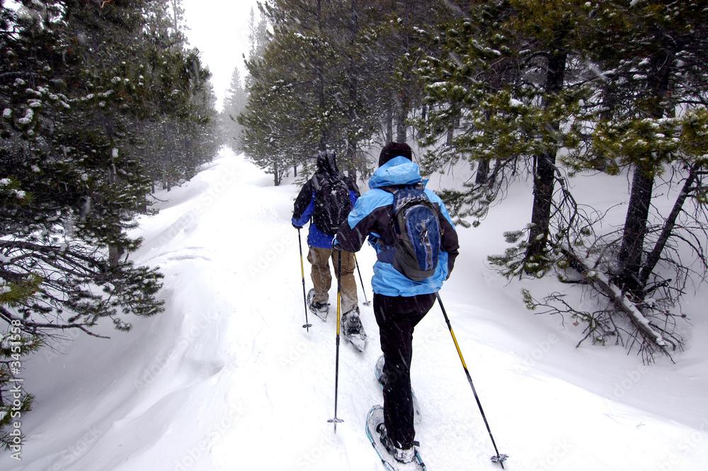 Fototapety, obrazy: Snow shoeing