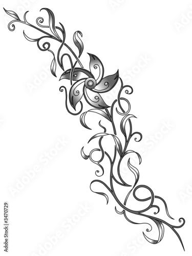 Blumenranke Tattoo Vorlage Canvas Print Decorative Canvas Prints