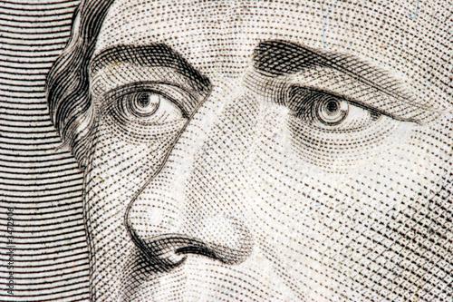 Fotografía alexander hamilton close up from 10 dollar bill